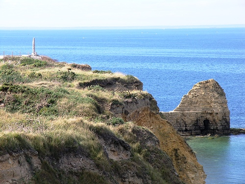 Cliffs at Point du Hoc, where U.S. Army Rangers 2nd Battalion used fireman's ladders and grappling hooks to invade the German stronghold.  Two-thirds of the Rangers perished in the assault.