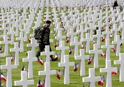 American Cemetery at Colleville sur Mer...9,387 simple white marble crosses and Stars of David mark the final resting place of the brave men and women who lost their lives in the conflict.
